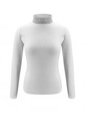 Rhinestone Decor High Neck T Shirts For Women