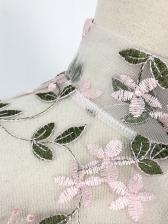 High Neck Embroidery Long Sleeve Bodysuit