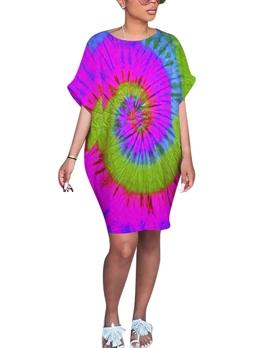 Crew Neck Tie Dye Loose Short Sleeve t-Shirt Dress