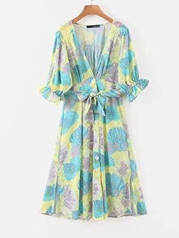 Single-Breasted Print Ladies Short Sleeve Dress