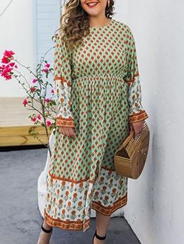 Casual Large Hem Printed Plus Size Maxi Dresses