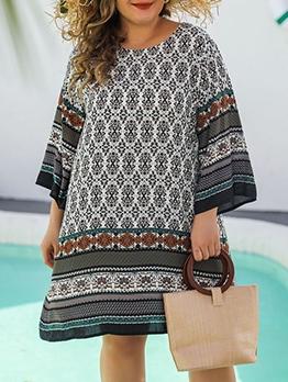 Tribal Print Crew Neck Women Plus Size Dresses