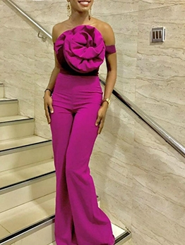 Exaggerated Flower Off The Shoulder Jumpsuit