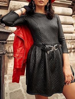Chic Women Pu Black Dress