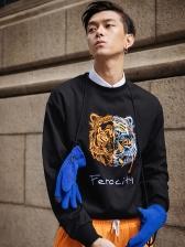 Chinese Style Embroidered Tiger Crewneck Sweatshirt