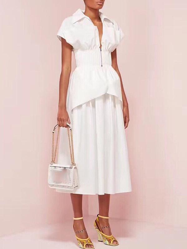 Elegant Tunic Pleated Short Sleeve Midi Dress