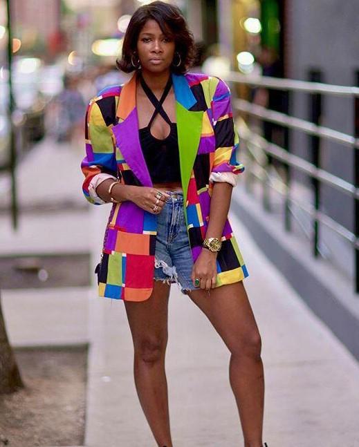 Color Block Plaid Casual Blazer
