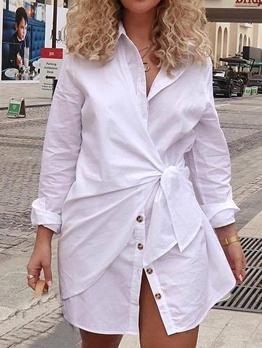 Euro Turndown Collar Tie Wrap Long Sleeve Dress