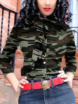 Trendy Camouflage Denim Tie Neck Blouse