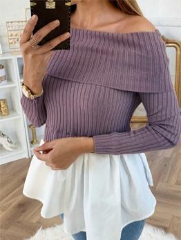 Ribbing Off The Shoulder Patchwork Blouse Design