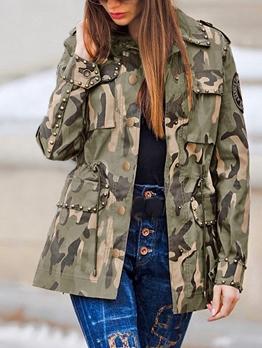 Rivet Decor Embroidery Camouflage Jacket