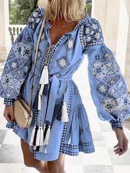 Vintage Printed Tassel Decor Long Sleeve Short Dress