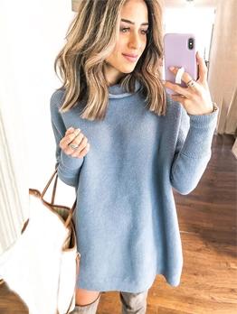 Turtle Neck Solid Long Ladies Sweatshirt