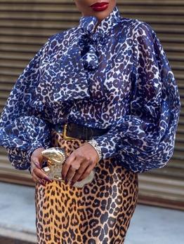 Fashion Leopard Printed Tie Neck Blouse