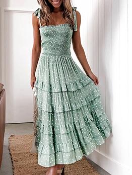 Euro Polka Dots Frill Layered Slip Maxi Dress