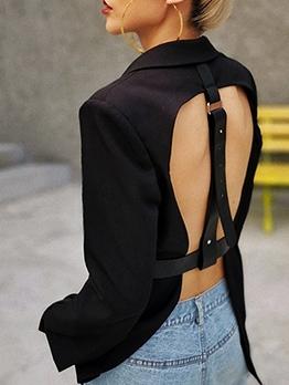Fashion Back Buckle Strap Black Blazer