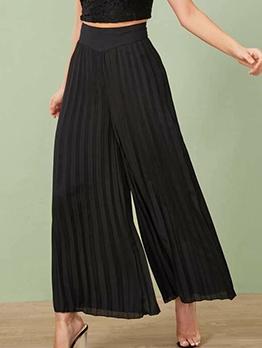 Simple Style Pleated All Black Wide Leg Pants