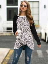 Leopard Printed Long Sleeve Twist Long T Shirt