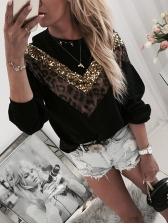 Winter Sequins Leopard Patchwork Ladies Sweatshirt