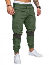 Contrast Color Drawstring Mens Long Pants