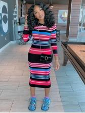 Striped Bodycon Long Sleeve Midi Dress