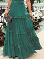 Solid Color Ruffles Hem Spaghetti Strap Maxi Dresses