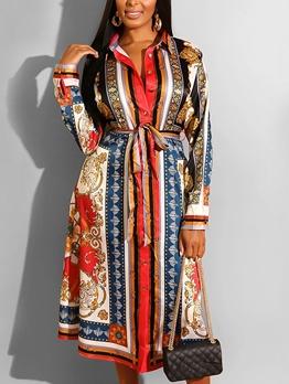 Single-Breasted Tie-Wrap Vintage Print Maxi Shirt Dress