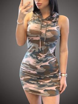 Hot Sale Sleeveless Camouflage Hoodies Dress