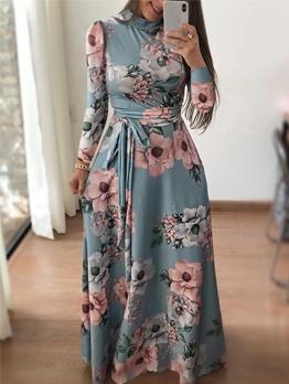 Autumn Tie-Wrap Floral Long Sleeve Maxi Dress