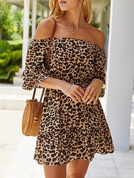 Leopard Print Short Sleeve Off The Shoulder Dress