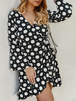 Stylish Polka Dots Plus Size Long Sleeve Dress
