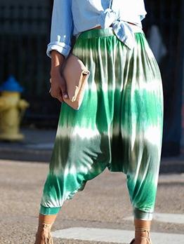 Casual Elastic Waist Tie Dye Harem Pants