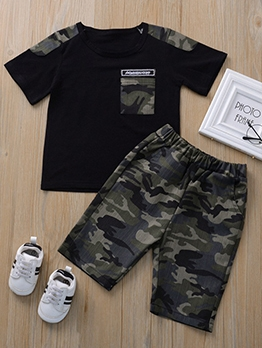 Boy Camouflage Two Piece Short Set
