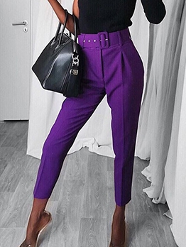 Simple Style Solid Pants For Women With Belt
