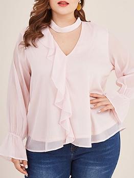 Plus Size Ruffles Detail Pink V Neck Blouse