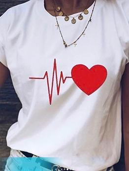 Heart Print Short Sleeve Crew Neck T-shirt
