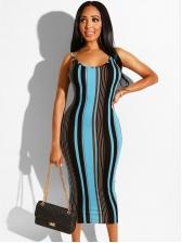 Striped Backless Sleeveless Midi Dress