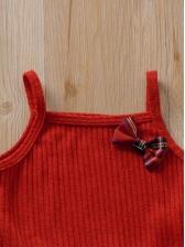 Tartan Bow Decor Sleeveless Baby Girl Dresses
