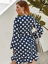 Stylish Polka Dots Plus Size Long Sleeve Dress