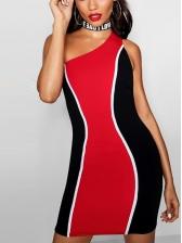 Color Block Inclined Shoulder One Piece Dress