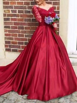 Large Hem Lace Patchwork Red Wedding Dress