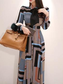 Printed Binding Bow Wholesale Maxi Dresses