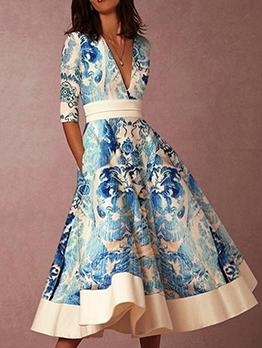 Retro Blue And White Porcelain Printing Ladies Dress