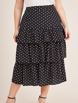 Casual Black Polka Dots Plus Size Ruffle Skirt