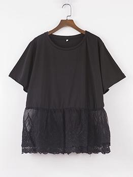 Summer Lace Patchwork Black Oversized T Shirt