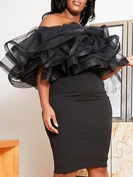 Euro Gauze Patchwork Black Skinny Plus Size Dress