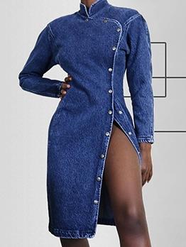 Stand Neck Buttons Up Long Sleeve Denim Dress