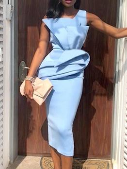 Fashion Solid Ruffled Party Sleeveless Dress