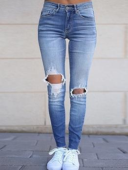 Chic Mid Waist Hole Skinny Jeans