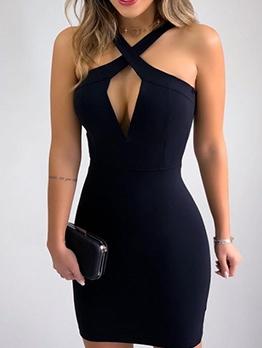 Sexy Cross Neck Sleeveless Black Dress